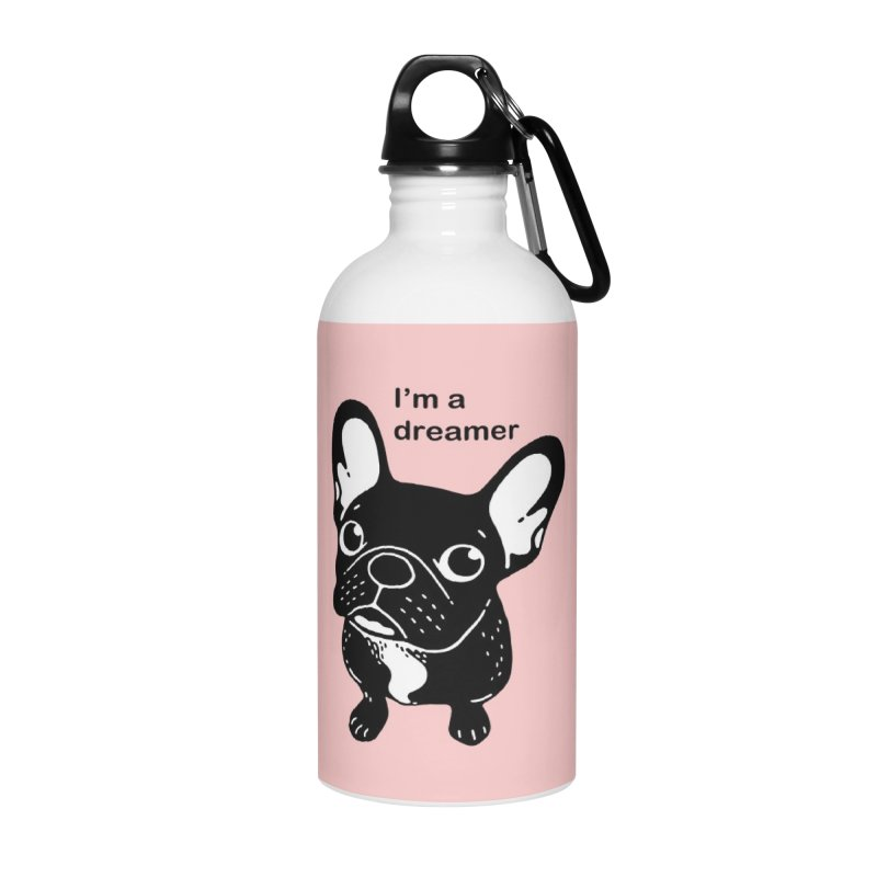Cute brindle Frenchie is a dreamer  Accessories Water Bottle by Emotional Frenchies - Cute French Bulldog T-shirts