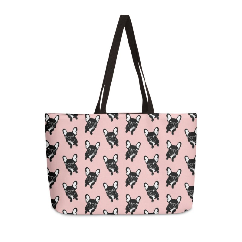 Cute brindle Frenchie is a dreamer  Accessories Weekender Bag Bag by Emotional Frenchies - Cute French Bulldog T-shirts