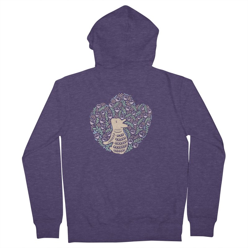 Cream Frenchie and the Spring foliage Men's French Terry Zip-Up Hoody by Emotional Frenchies - Cute French Bulldog T-shirts