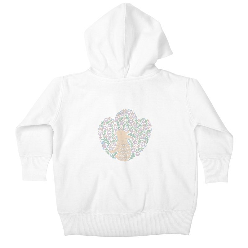 Cream Frenchie and the Spring foliage Kids Baby Zip-Up Hoody by Emotional Frenchies - Cute French Bulldog T-shirts