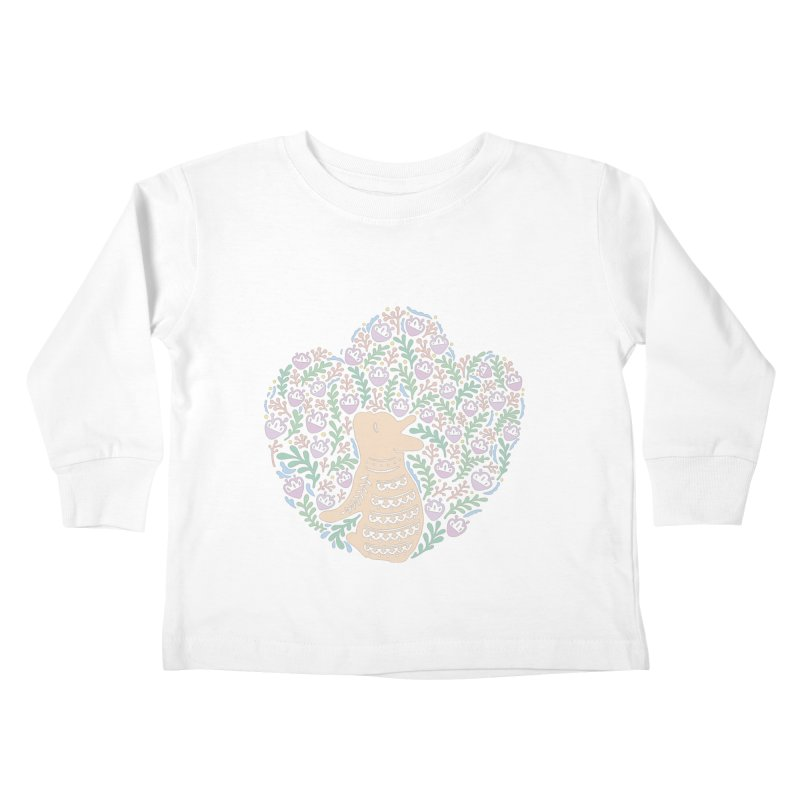 Cream Frenchie and the Spring foliage Kids Toddler Longsleeve T-Shirt by Emotional Frenchies - Cute French Bulldog T-shirts