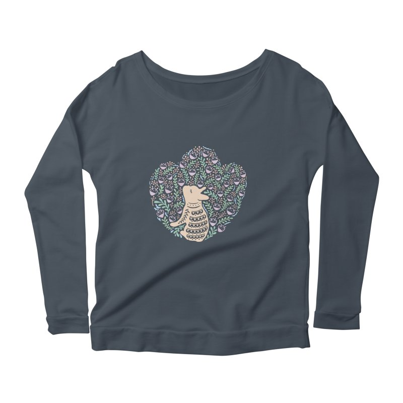 Cream Frenchie and the Spring foliage Women's Scoop Neck Longsleeve T-Shirt by Emotional Frenchies - Cute French Bulldog T-shirts
