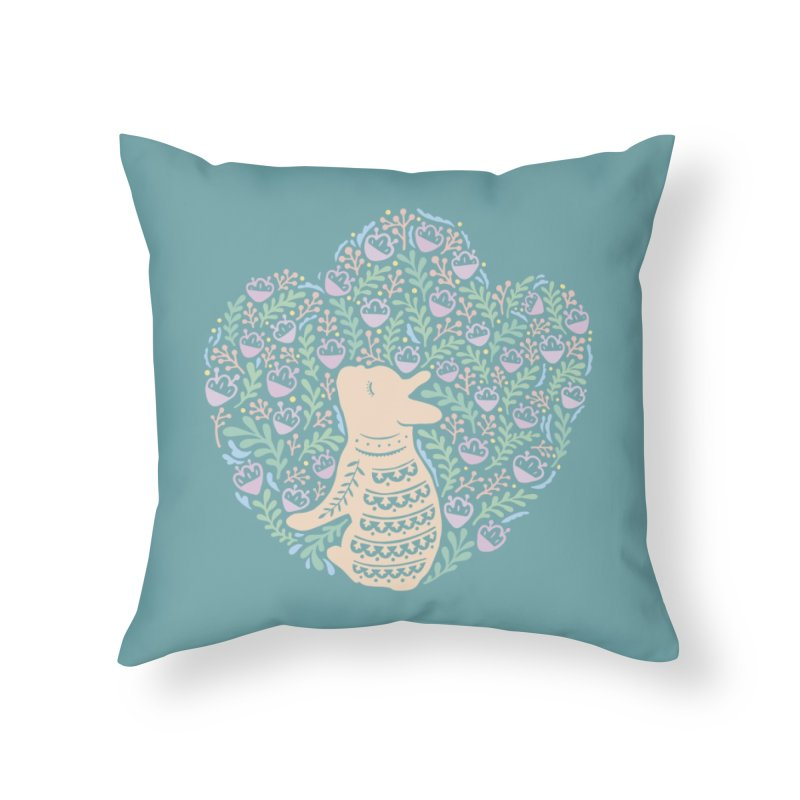 Cream Frenchie and the Spring foliage Home Throw Pillow by Emotional Frenchies - Cute French Bulldog T-shirts