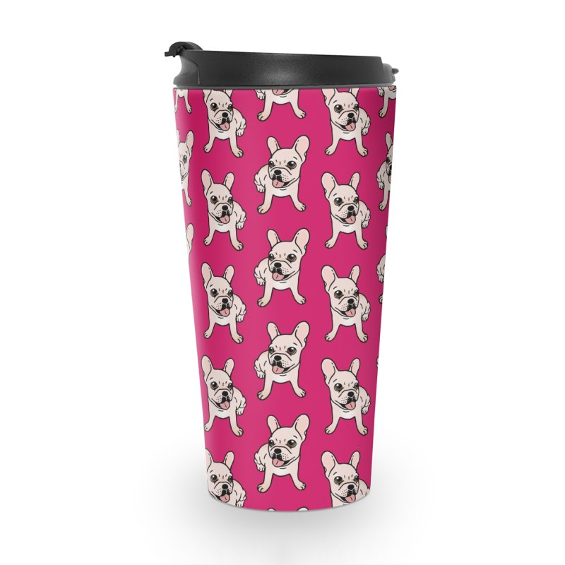 Cute cream Frenchie is ready to play Accessories Travel Mug by Emotional Frenchies - Cute French Bulldog T-shirts