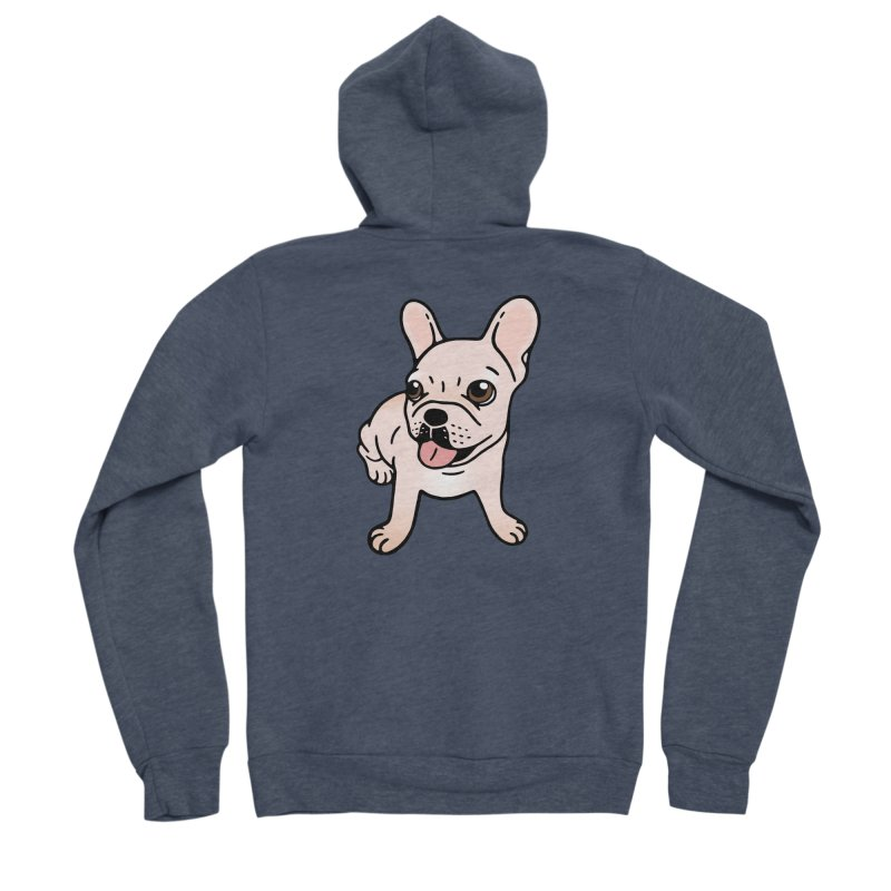 Cute cream Frenchie is ready to play Women's Sponge Fleece Zip-Up Hoody by Emotional Frenchies - Cute French Bulldog T-shirts