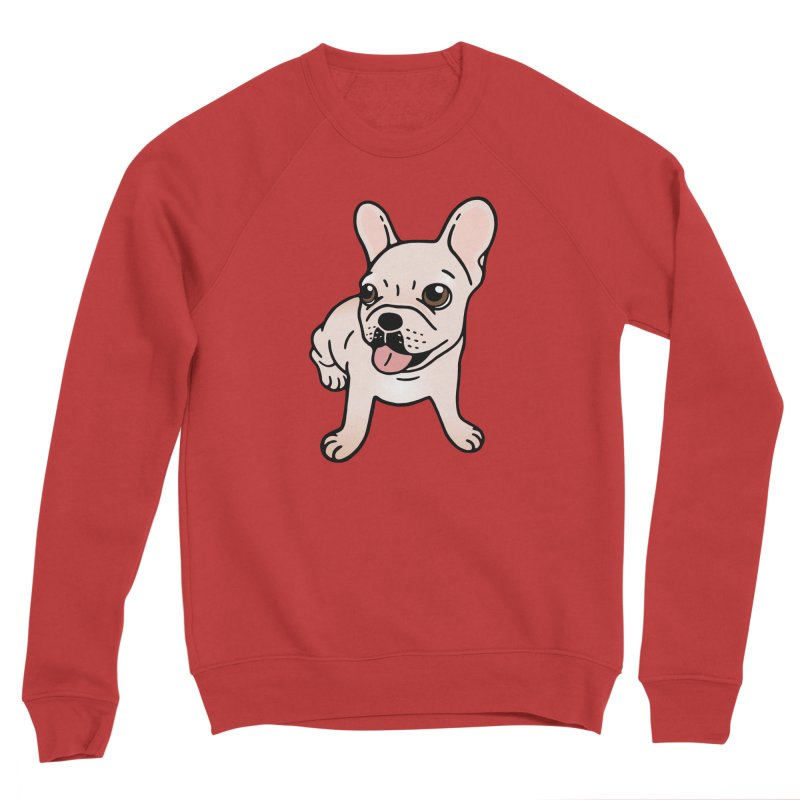 Cute cream Frenchie is ready to play Men's Sponge Fleece Sweatshirt by Emotional Frenchies - Cute French Bulldog T-shirts
