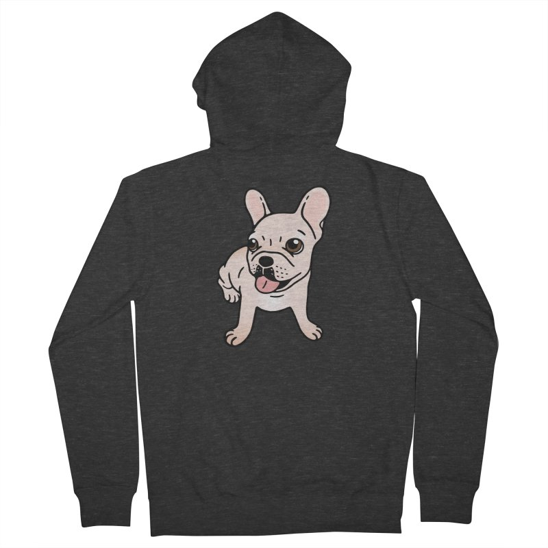 Cute cream Frenchie is ready to play Women's French Terry Zip-Up Hoody by Emotional Frenchies - Cute French Bulldog T-shirts