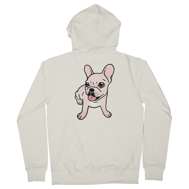 Cute cream Frenchie is ready to play Men's French Terry Zip-Up Hoody by Emotional Frenchies - Cute French Bulldog T-shirts