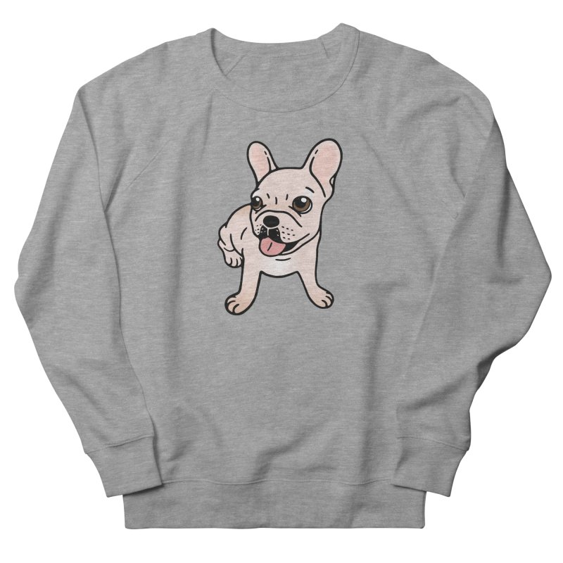 Cute cream Frenchie is ready to play Women's French Terry Sweatshirt by Emotional Frenchies - Cute French Bulldog T-shirts
