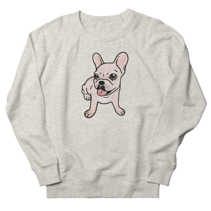 Cute cream Frenchie is ready to play Men's French Terry Sweatshirt by Emotional Frenchies - Cute French Bulldog T-shirts