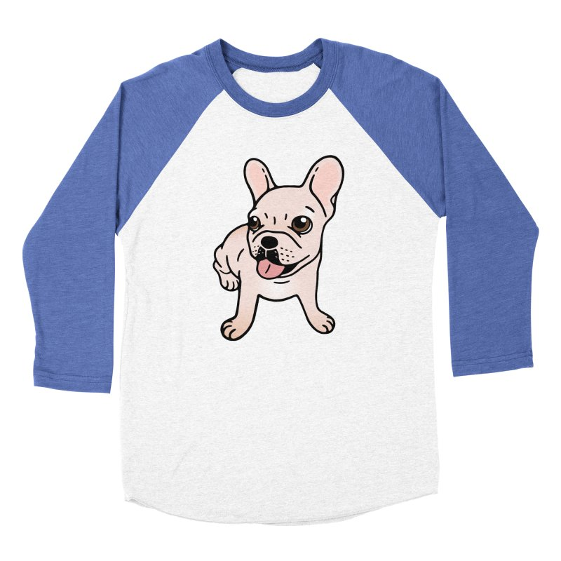 Cute cream Frenchie is ready to play Men's Baseball Triblend Longsleeve T-Shirt by Emotional Frenchies - Cute French Bulldog T-shirts