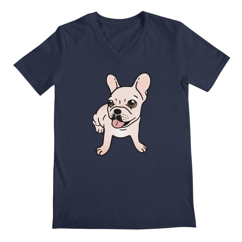Cute cream Frenchie is ready to play Men's Regular V-Neck by Emotional Frenchies - Cute French Bulldog T-shirts