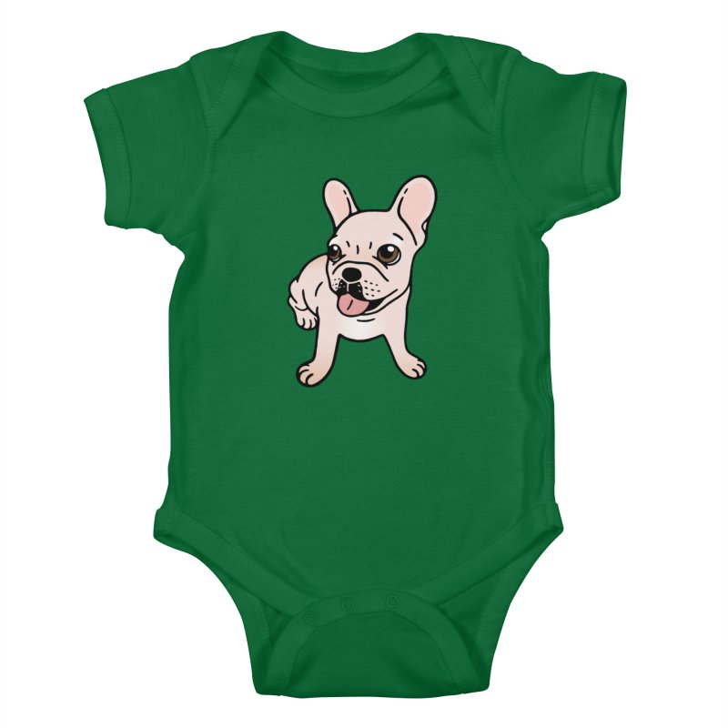 Cute cream Frenchie is ready to play Kids Baby Bodysuit by Emotional Frenchies - Cute French Bulldog T-shirts