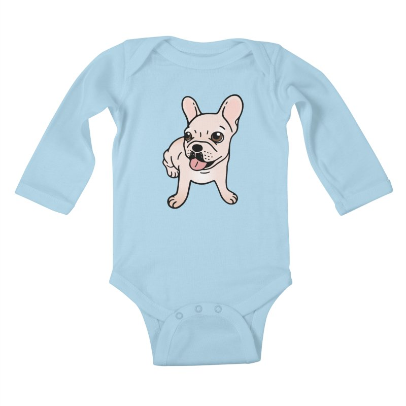 Cute cream Frenchie is ready to play Kids Baby Longsleeve Bodysuit by Emotional Frenchies - Cute French Bulldog T-shirts