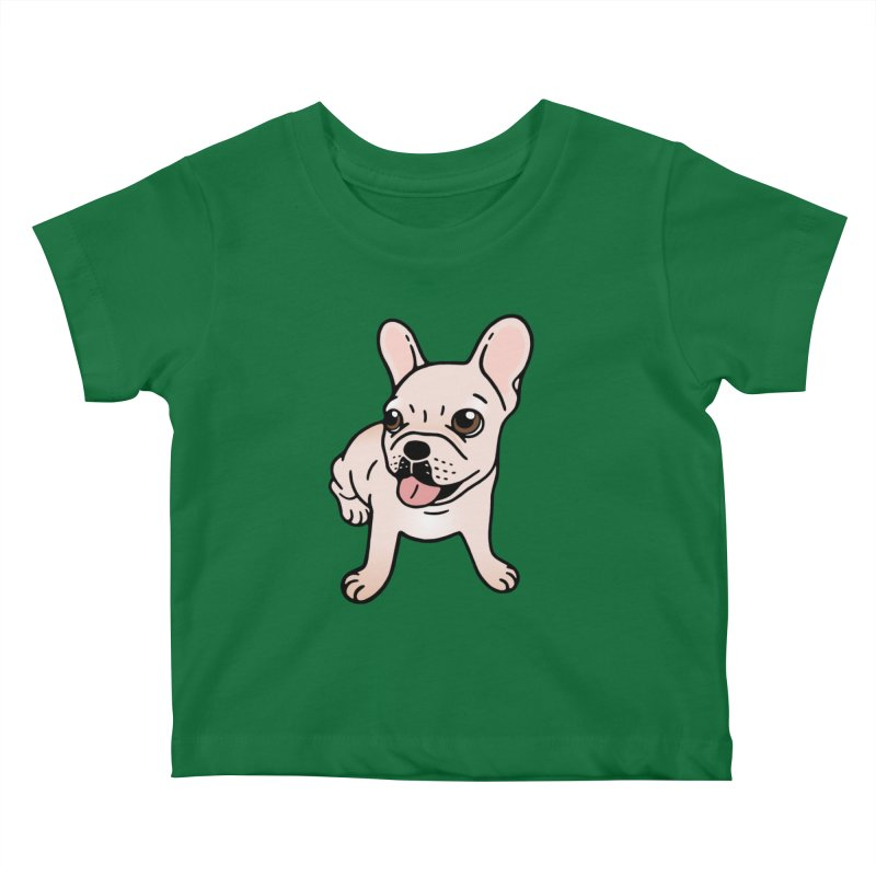 Cute cream Frenchie is ready to play Kids Baby T-Shirt by Emotional Frenchies - Cute French Bulldog T-shirts
