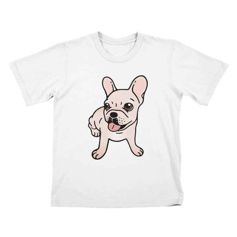 Cute cream Frenchie is ready to play Kids T-Shirt by Emotional Frenchies - Cute French Bulldog T-shirts