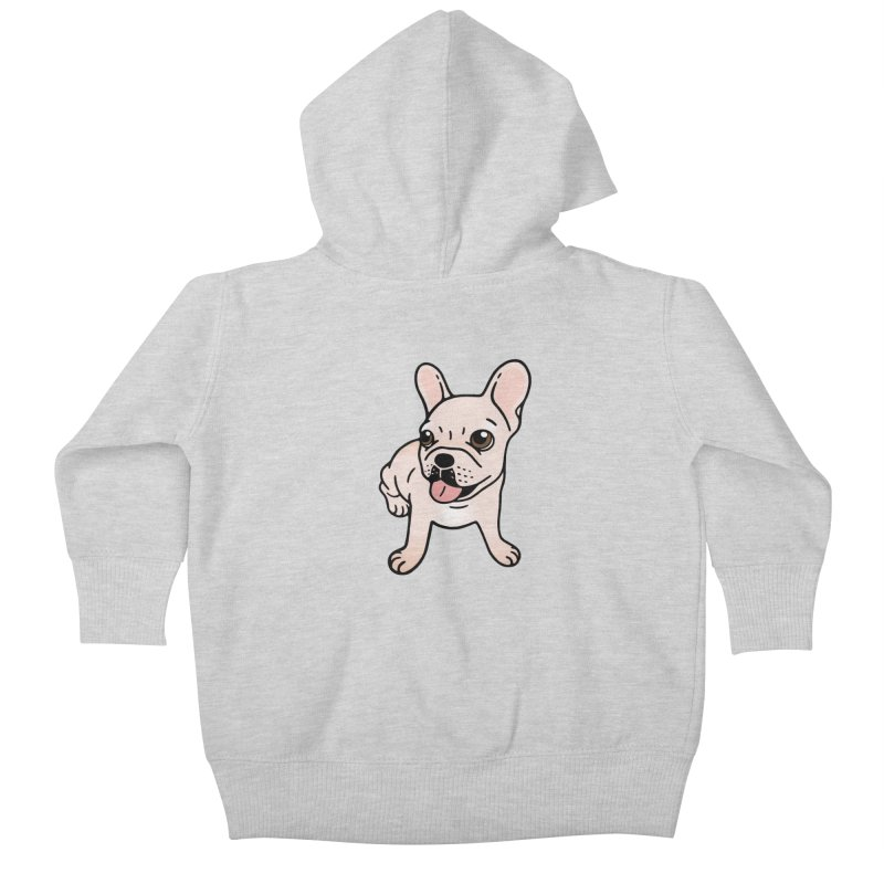 Cute cream Frenchie is ready to play Kids Baby Zip-Up Hoody by Emotional Frenchies - Cute French Bulldog T-shirts