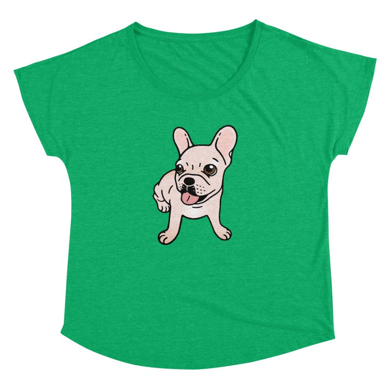 Cute cream Frenchie is ready to play Women's Dolman Scoop Neck by Emotional Frenchies - Cute French Bulldog T-shirts