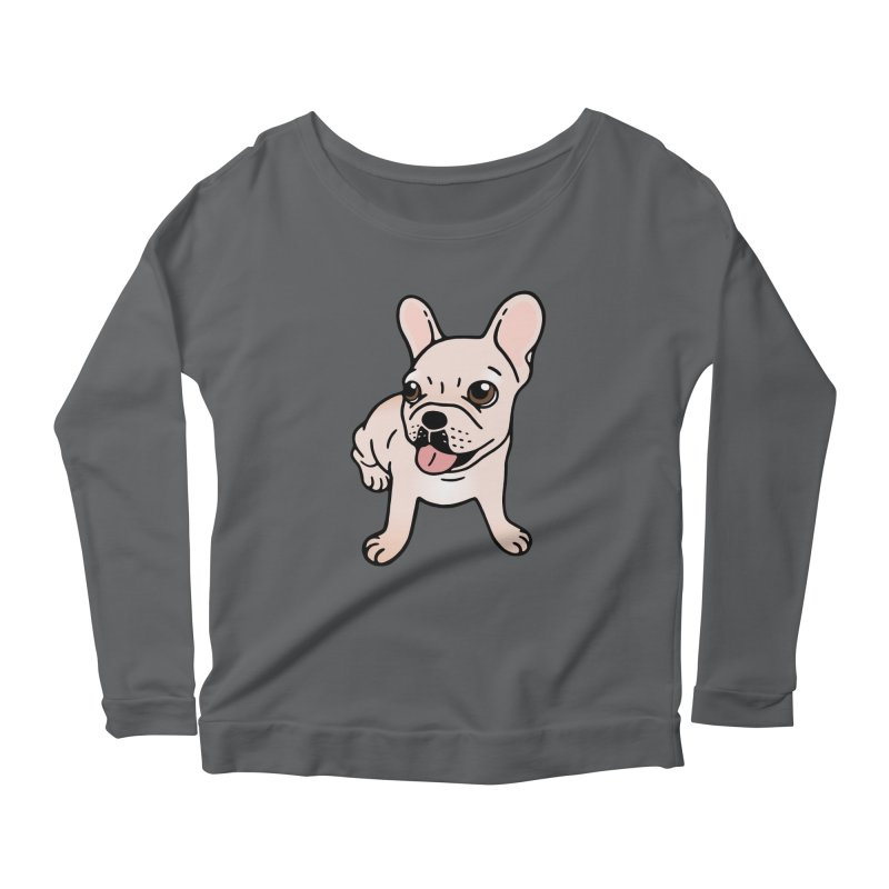 Cute cream Frenchie is ready to play Women's Scoop Neck Longsleeve T-Shirt by Emotional Frenchies - Cute French Bulldog T-shirts