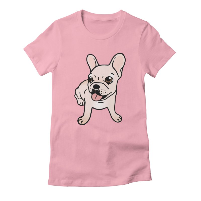 Cute cream Frenchie is ready to play Women's Fitted T-Shirt by Emotional Frenchies - Cute French Bulldog T-shirts