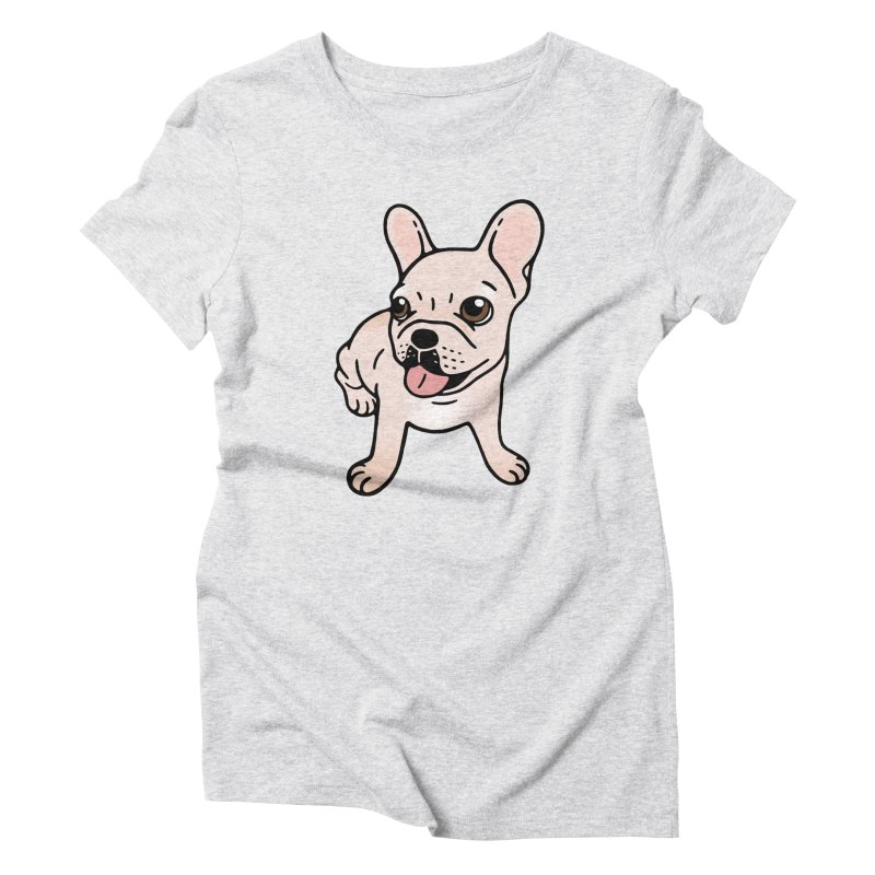 Cute cream Frenchie is ready to play Women's Triblend T-Shirt by Emotional Frenchies - Cute French Bulldog T-shirts