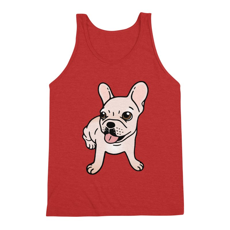 Cute cream Frenchie is ready to play Men's Triblend Tank by Emotional Frenchies - Cute French Bulldog T-shirts