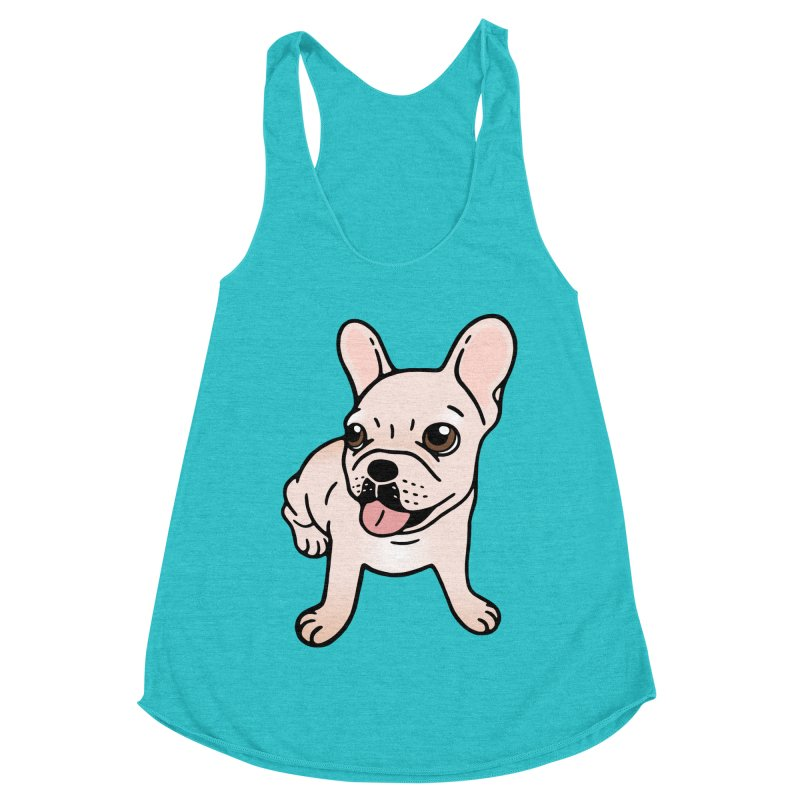 Cute cream Frenchie is ready to play Women's Racerback Triblend Tank by Emotional Frenchies - Cute French Bulldog T-shirts