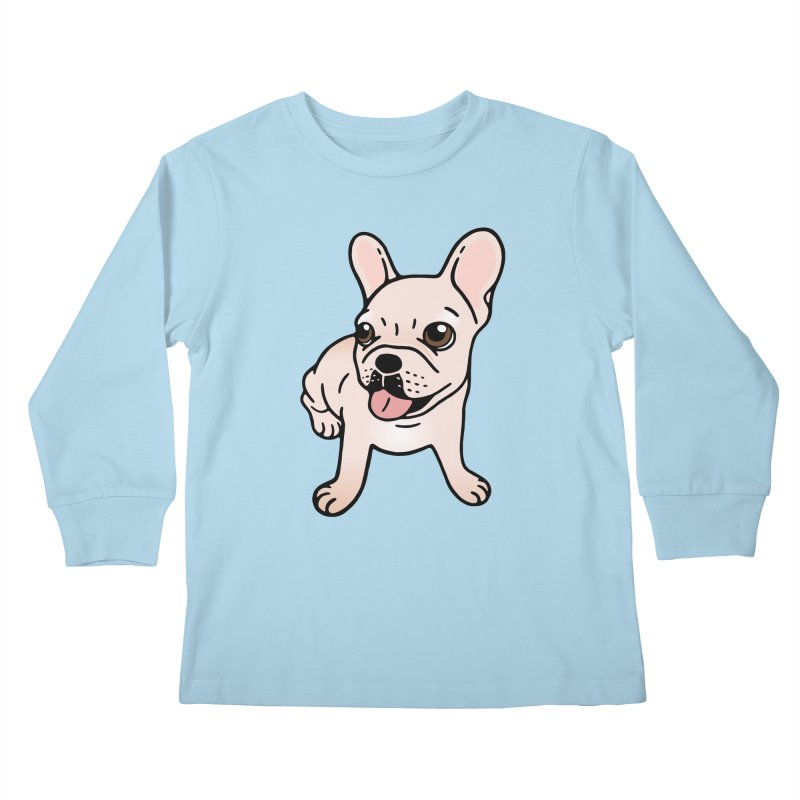 Cute cream Frenchie is ready to play Kids Longsleeve T-Shirt by Emotional Frenchies - Cute French Bulldog T-shirts