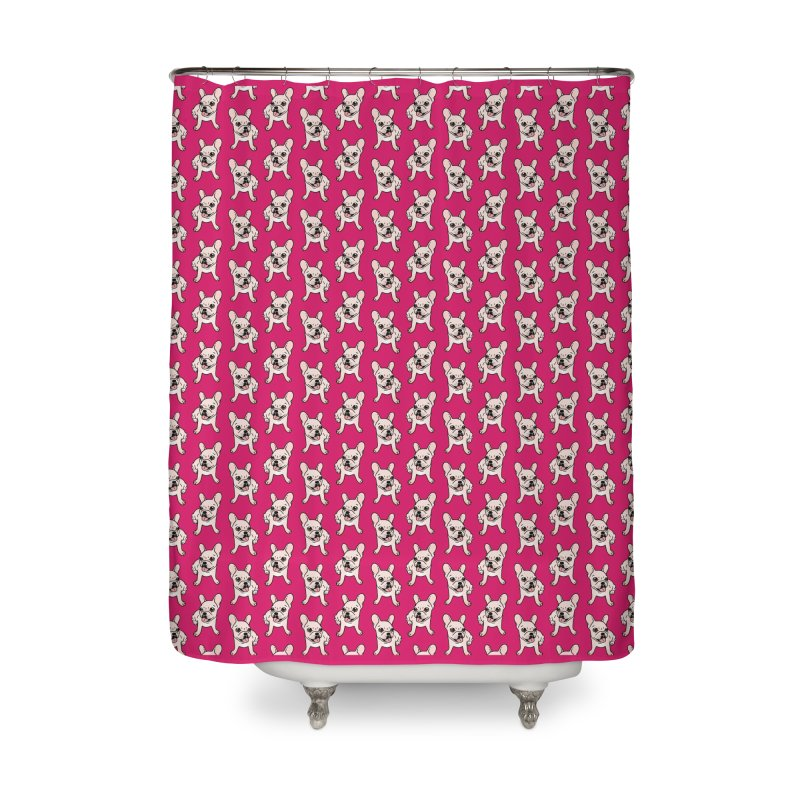 Cute cream Frenchie is ready to play Home Shower Curtain by Emotional Frenchies - Cute French Bulldog T-shirts