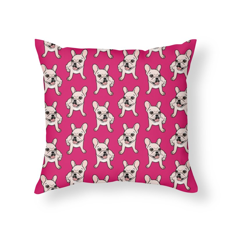 Cute cream Frenchie is ready to play Home Throw Pillow by Emotional Frenchies - Cute French Bulldog T-shirts