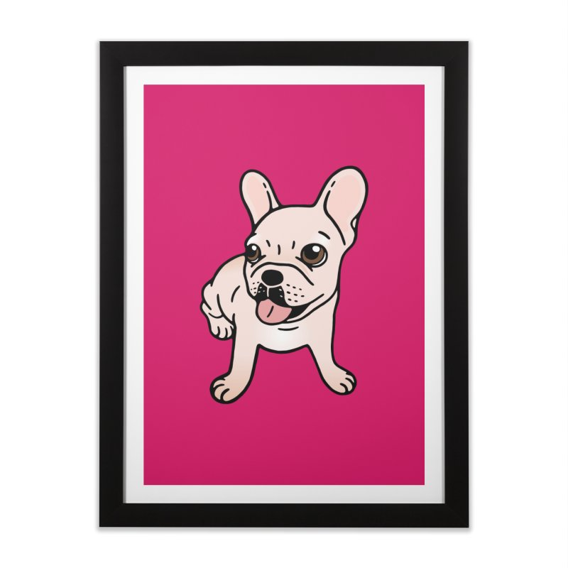 Cute cream Frenchie is ready to play Home Framed Fine Art Print by Emotional Frenchies - Cute French Bulldog T-shirts