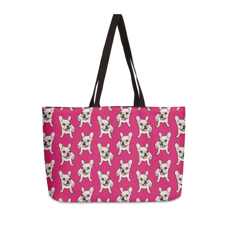 Cute cream Frenchie is ready to play Accessories Weekender Bag Bag by Emotional Frenchies - Cute French Bulldog T-shirts