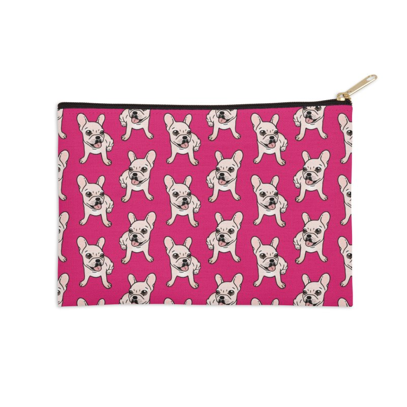 Cute cream Frenchie is ready to play Accessories Zip Pouch by Emotional Frenchies - Cute French Bulldog T-shirts