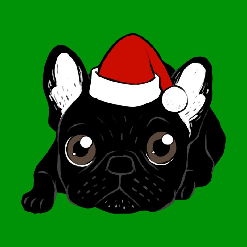 Brindle Frenchie loves Christmas season Home Fine Art Print by Emotional Frenchies - Cute French Bulldog T-shirts