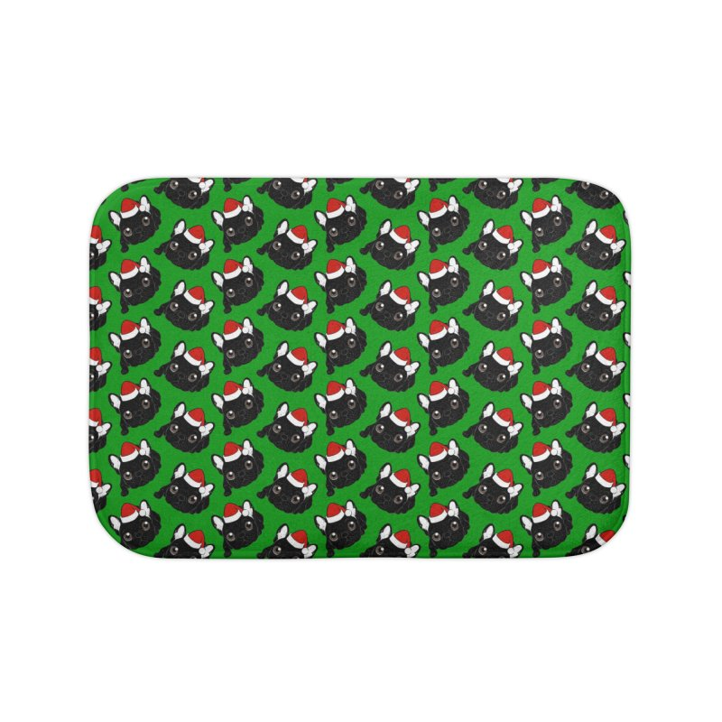 Brindle Frenchie loves Christmas season Home Bath Mat by Emotional Frenchies - Cute French Bulldog T-shirts