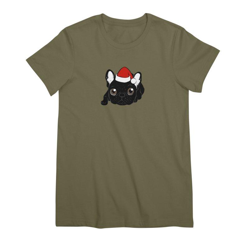 Brindle Frenchie loves Christmas season Women's Premium T-Shirt by Emotional Frenchies - Cute French Bulldog T-shirts