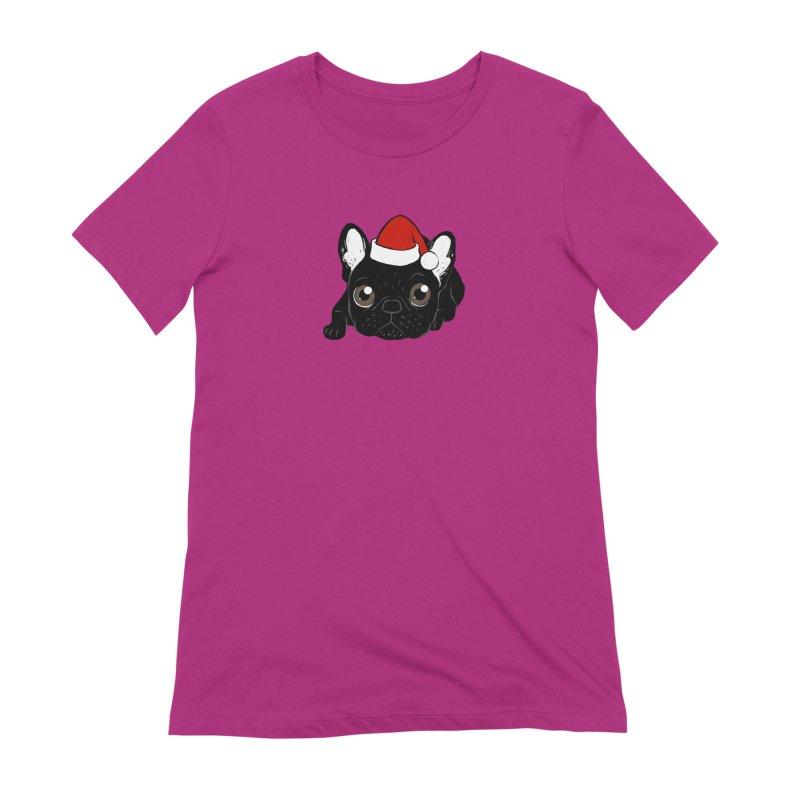 Brindle Frenchie loves Christmas season Women's Extra Soft T-Shirt by Emotional Frenchies - Cute French Bulldog T-shirts