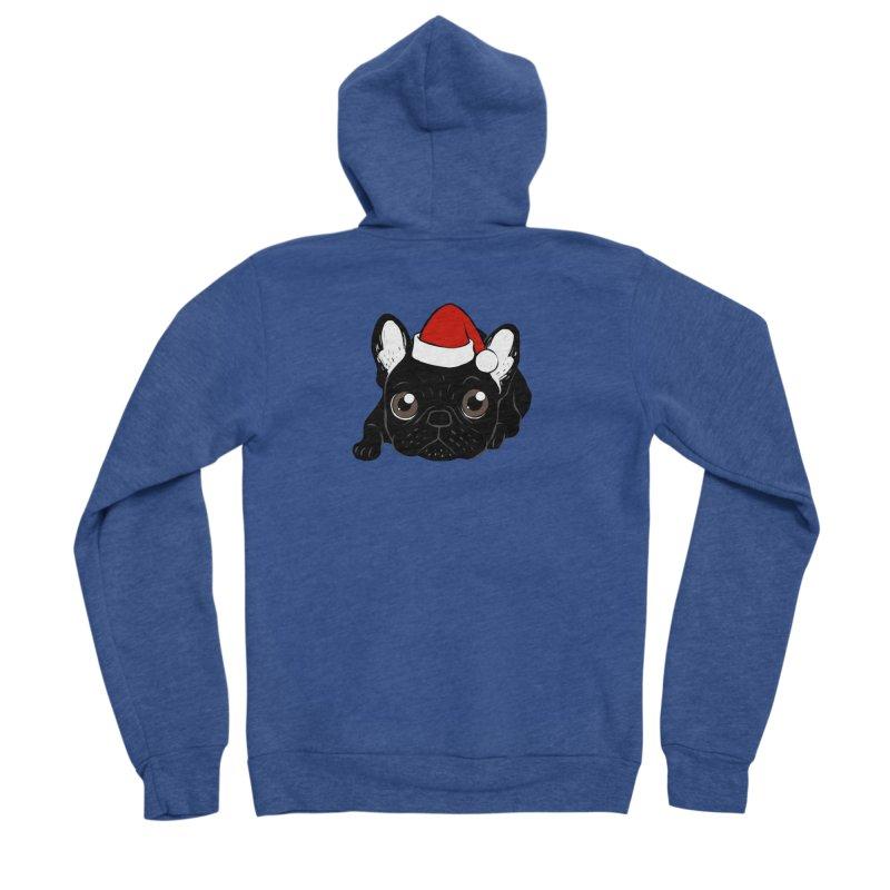 Brindle Frenchie loves Christmas season Women's Sponge Fleece Zip-Up Hoody by Emotional Frenchies - Cute French Bulldog T-shirts