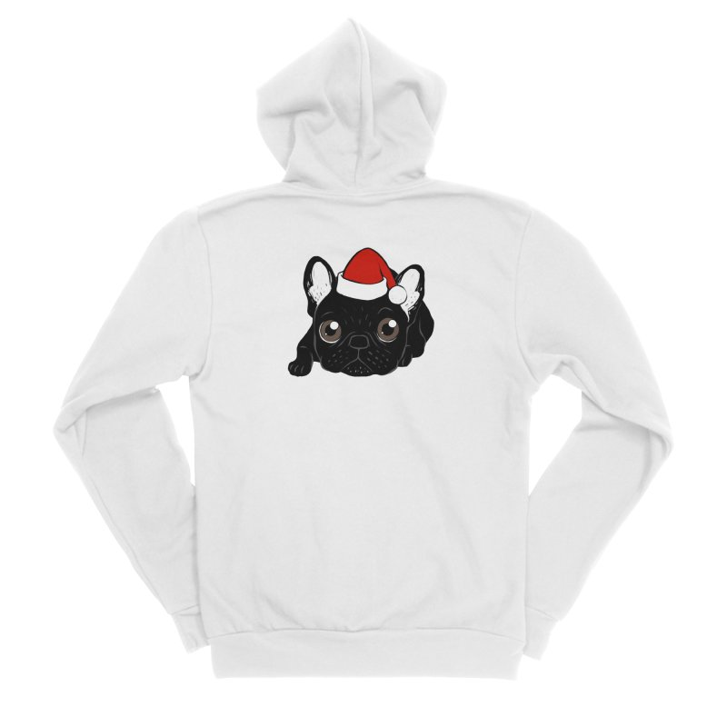 Brindle Frenchie loves Christmas season Men's Sponge Fleece Zip-Up Hoody by Emotional Frenchies - Cute French Bulldog T-shirts