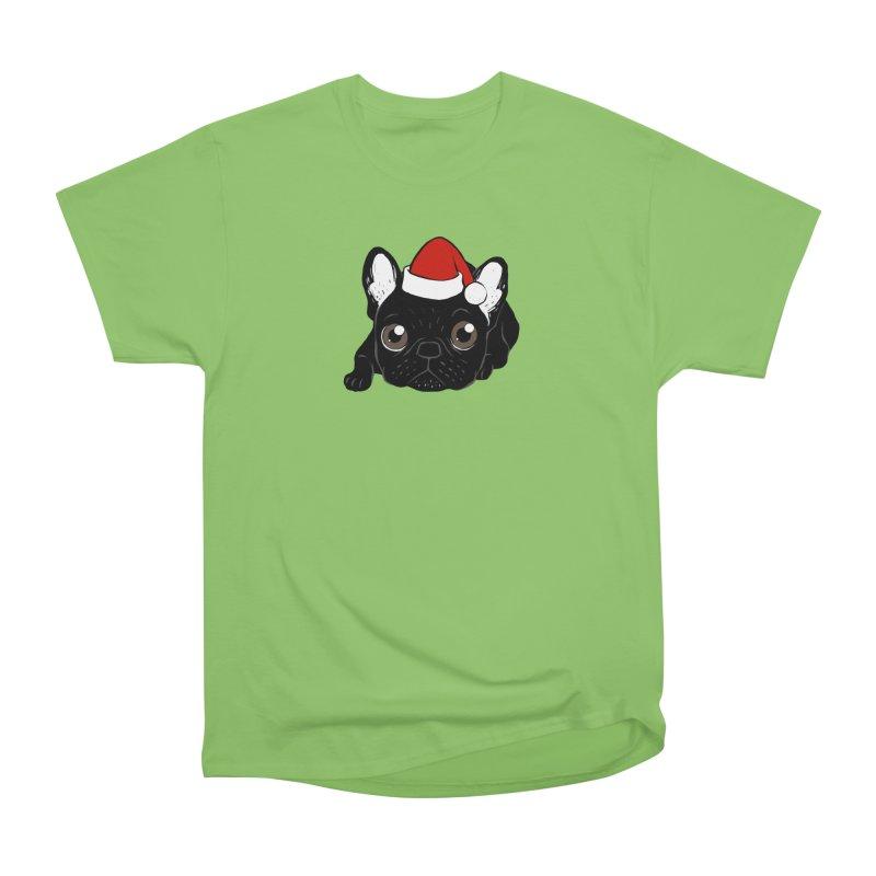 Brindle Frenchie loves Christmas season Women's Heavyweight Unisex T-Shirt by Emotional Frenchies - Cute French Bulldog T-shirts