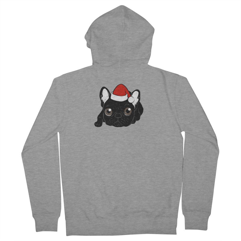 Brindle Frenchie loves Christmas season Women's French Terry Zip-Up Hoody by Emotional Frenchies - Cute French Bulldog T-shirts