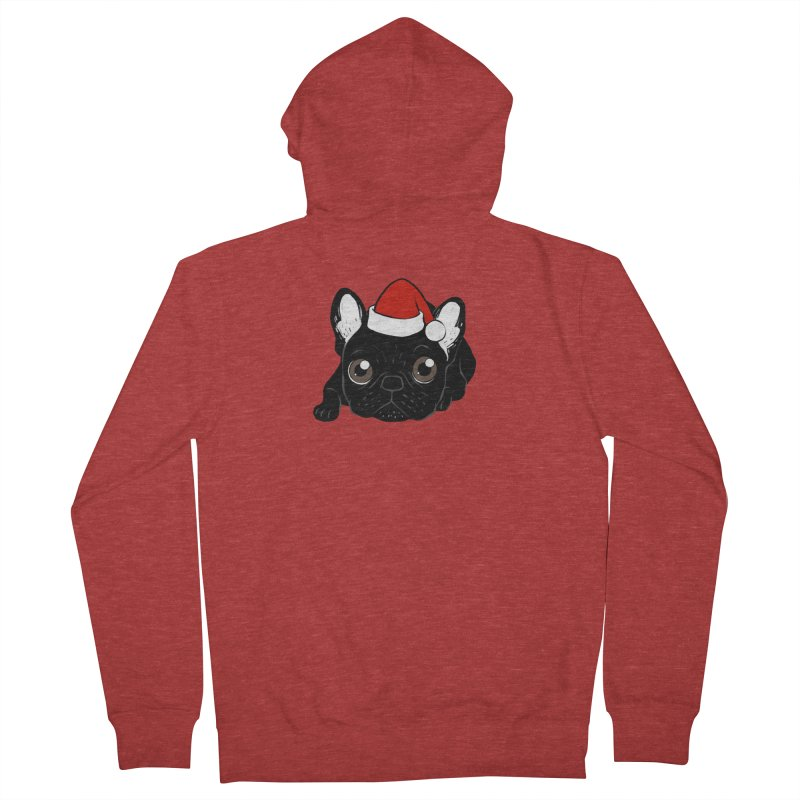Brindle Frenchie loves Christmas season Men's French Terry Zip-Up Hoody by Emotional Frenchies - Cute French Bulldog T-shirts