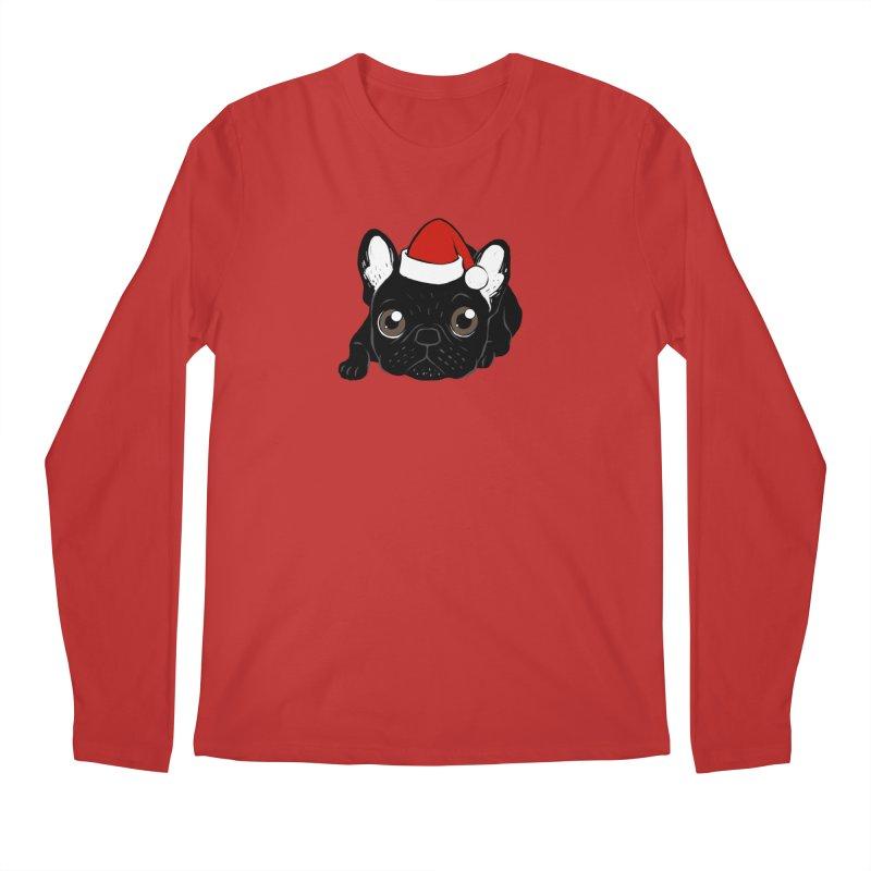 Brindle Frenchie loves Christmas season Men's Regular Longsleeve T-Shirt by Emotional Frenchies - Cute French Bulldog T-shirts