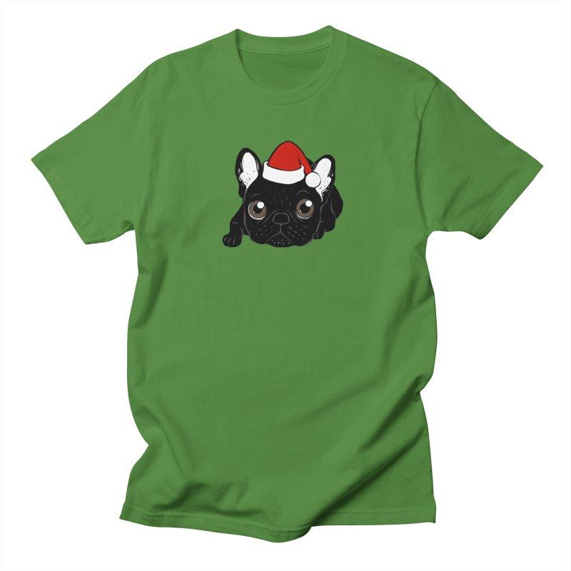 Brindle Frenchie loves Christmas season Women's Regular Unisex T-Shirt by Emotional Frenchies - Cute French Bulldog T-shirts