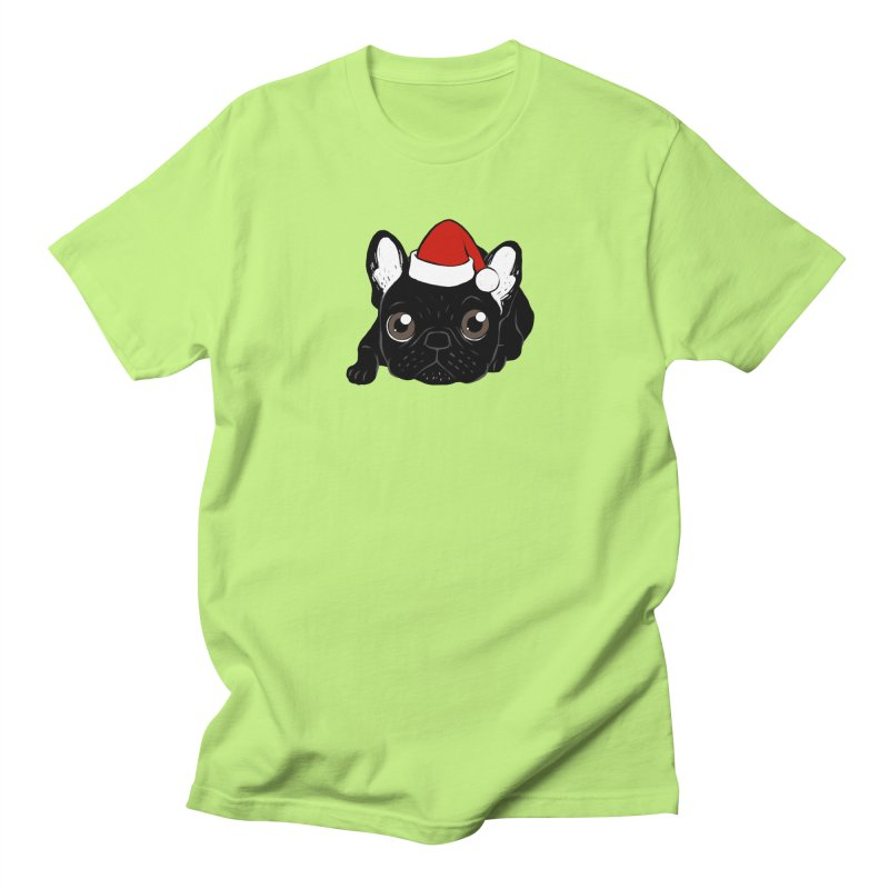 Brindle Frenchie loves Christmas season Women's Regular Unisex T-Shirt by Emotional Frenchies - Cute French Bulldog T-shirts