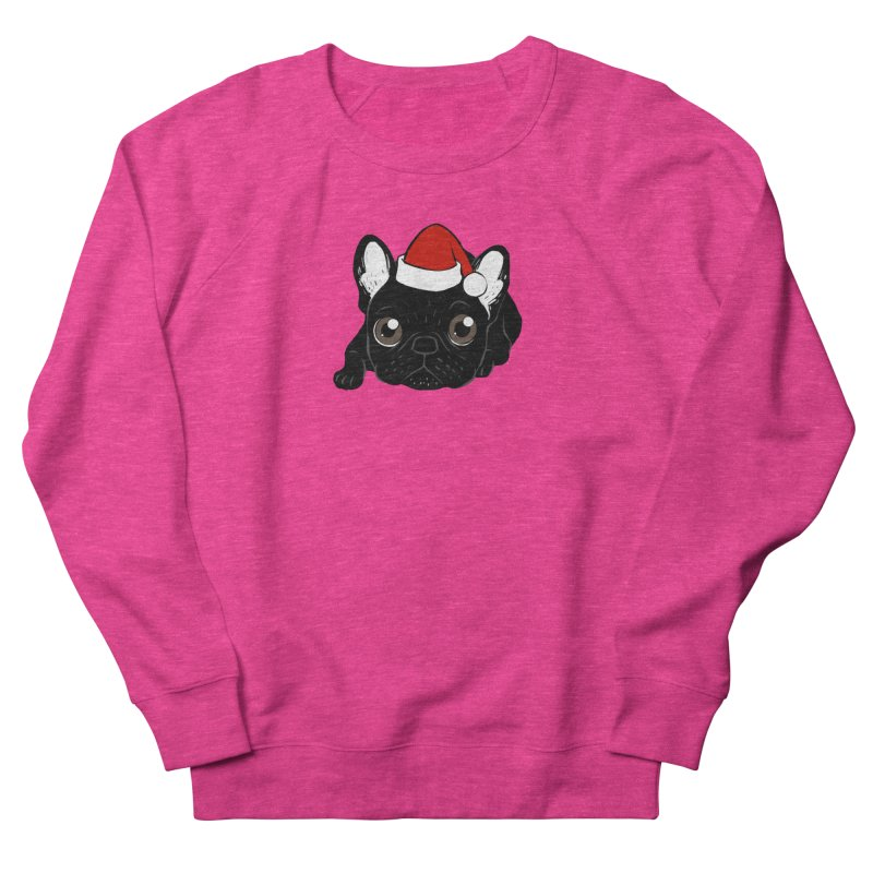 Brindle Frenchie loves Christmas season Women's French Terry Sweatshirt by Emotional Frenchies - Cute French Bulldog T-shirts
