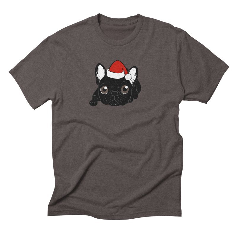 Brindle Frenchie loves Christmas season Men's Triblend T-Shirt by Emotional Frenchies - Cute French Bulldog T-shirts