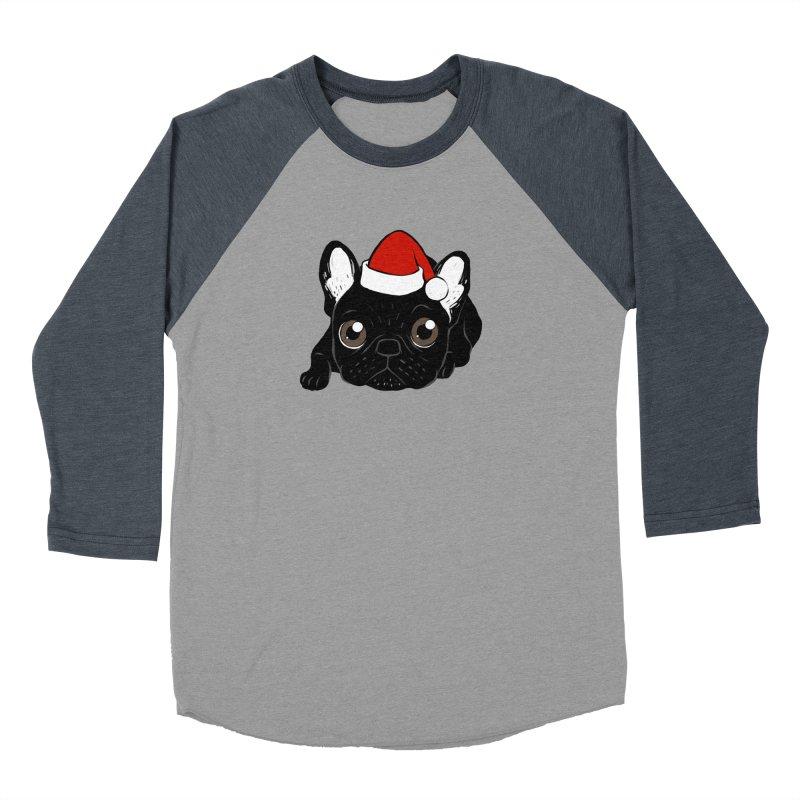Brindle Frenchie loves Christmas season Women's Baseball Triblend Longsleeve T-Shirt by Emotional Frenchies - Cute French Bulldog T-shirts