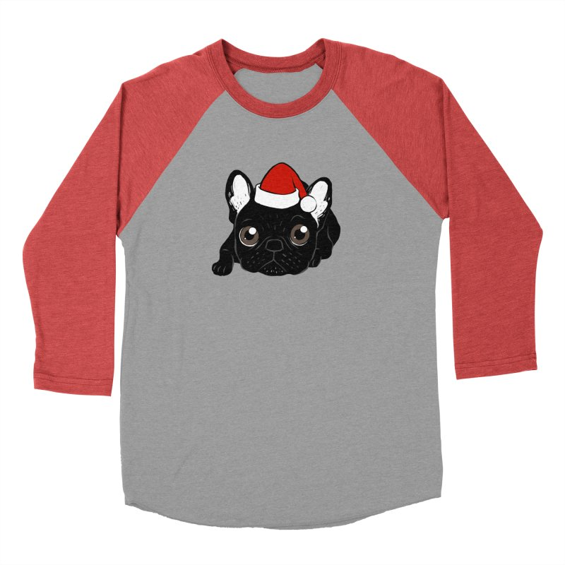 Brindle Frenchie loves Christmas season Men's Baseball Triblend Longsleeve T-Shirt by Emotional Frenchies - Cute French Bulldog T-shirts