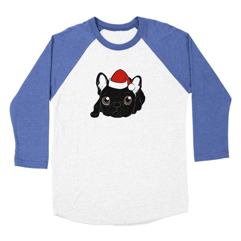 Brindle Frenchie loves Christmas season Men's Baseball Triblend Longsleeve T-Shirt by Emotional Frenchies - Cute French Bulldog T-shirts